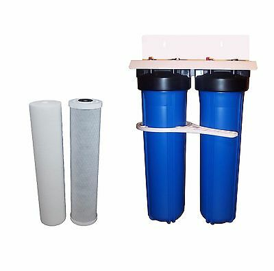 """Twin 20"""" x 4.5"""" Big Blue Whole All House Water Filter System + Filters"""