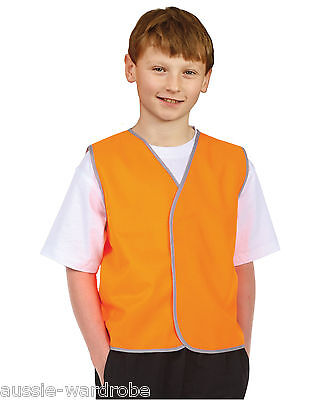 Kids Boys Girls Safety Fluro School Orange Yellow High Visibility Vest Hi Vis