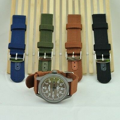 New Fashion Pure Color Nylon Canvas Watches Straps Bin Buckle Wristwatch Bands