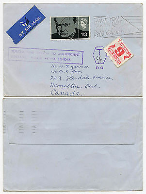 GB CHURCHILL 1/3 to CANADA POSTAGE DUE AIRMAIL T6...INSUFFICIENT POSTAGE BOXED
