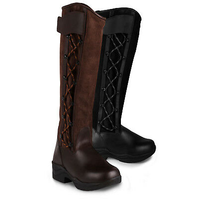 Leather Horse Riding Stable Yard Country Tall Slim Fit Boots Side Lace & Zip