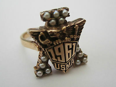 14K Gold West Point Military Academy Usma 1961 Class Ring W Pearls Sweetheart !!