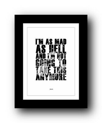 Network ❤ Typography movie quote poster art limited edition print #63