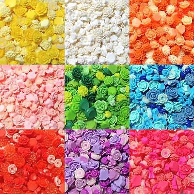 Mixed Flatback Resin Flower Cabochons Decoden Cardmaking Crafts Assorted Styles