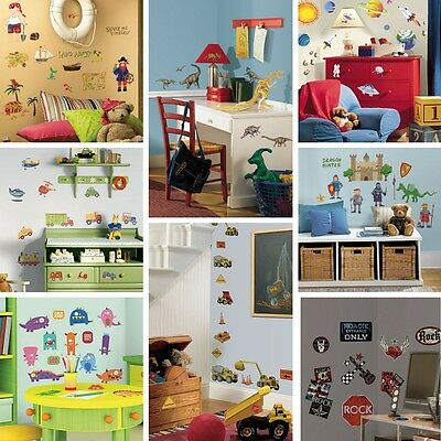 Kids Boys Room Mates Wall stickers - space dinosaurs trucks pirates monsters