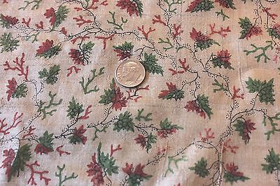 Rare Old 18thC French Hand Blocked Silk Fabric Yardage~TinyScale~Dolls, Projects