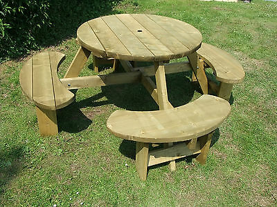 Picnic Table 8 Seats Round Pub Bench Garden Furniture. Winchester WRB38G