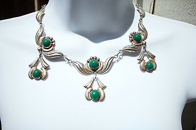 """Vintage Early Mexico Sterling Silver & Green Onyx Pendants Necklace 17.75"""" L"""
