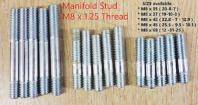 Manifold Stud M8x1.25 Thread many size ZINC Plated,Inlet Exhaust Choose Quantity