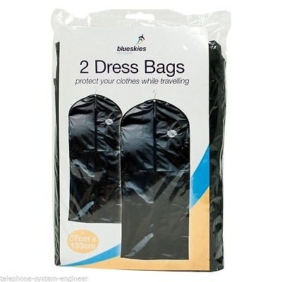 2 Suit Bags Cover Wedding Garment Clothes Storage Carrier Hanging Dress Bag