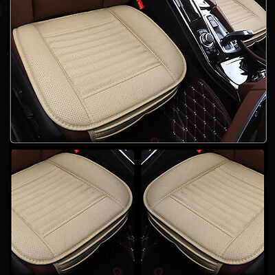 Universal Bamboo Charcoal Cushion Seat Pad PU Leather Auto Car Seat Covers beige