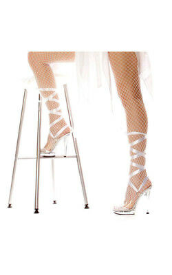 Adult Womens Bella White Lace Up Angel High Heel Shoes Fancy Dress Costume