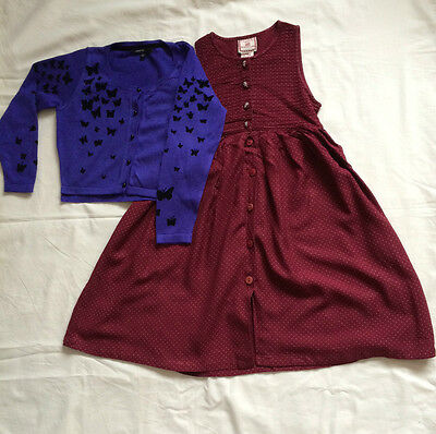 M&S and Cornelloki Outfit - Beutiful Buttefly Cardigan & Dress For Girls 5-6 Yrs
