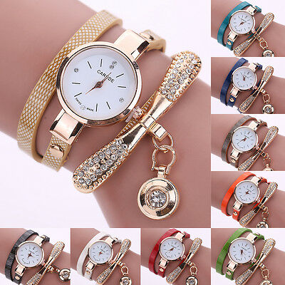 Women's Fashion Ladies Faux Leather Rhinestone Analog Quartz Wrist Watches Watch