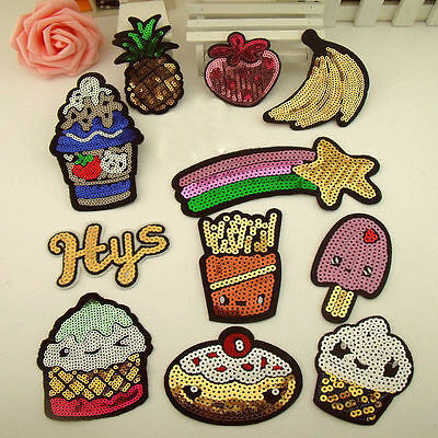 Variety Cute Sequins Motif Applique Iron On Patch Sew Clothing DIY Accessories F