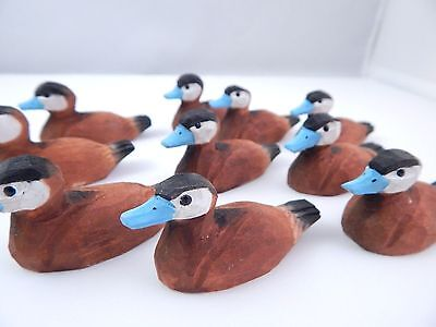 RUDDY DUCK Male Drake Miniature Wooden Decoy Bird Figurine Hand Painted Carved