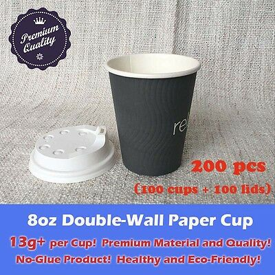 200pcs/100sets 8oz Disposable Coffee Grey Paper Cups Double Wall W/Lid Takeaway