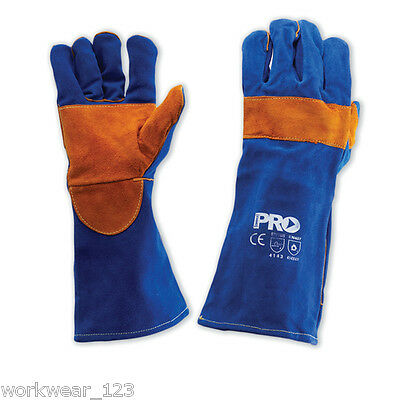 Two Pairs Blue Heeler Welders Gloves Leather Kevlar Stitched 16 Inches Long