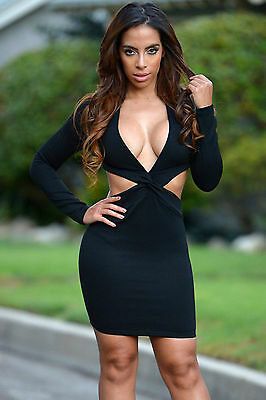 Mini Abito nero schiena aperta Nudo aderente Cut out Back Mini dress clubwear