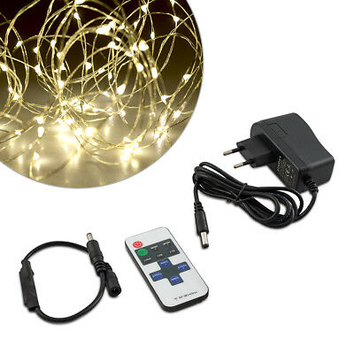 kwmobile LED String white with copper wire 10m silver
