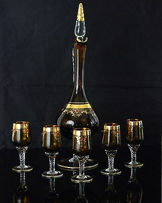 Rare! Elegant Vintage Amber Colored Pedestal Glass Wine Decanter Set