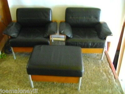 Keilhauer Black Leather  Designer Modern Chairs W/  Matching Ottoman Set 3