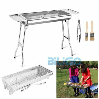 Outdoor Folding BBQ Charcoal Barbecue Grill Garden Cooking Stainless Steel【UK】