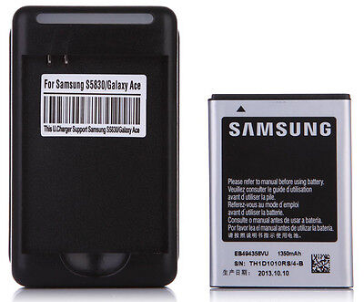 1350mAh Replacement Battery EB494358VU + Charger for Samsung Galaxy Ace S5830