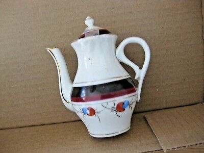 "ANTIQUE 4"" Ceramic TEA POT White Dark Purple Blue Red Gold design Fancy Toy"