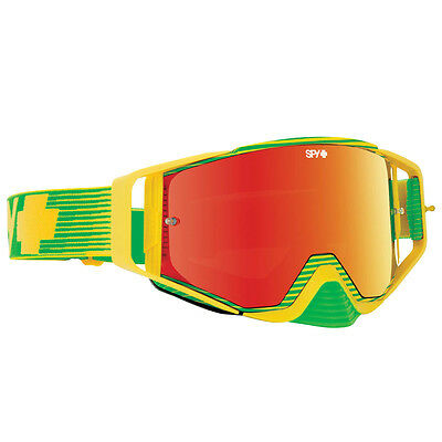 Spy Optics NEW Mx Ace Yellow Flash Green Spectra Red Tinted Motocross Goggles