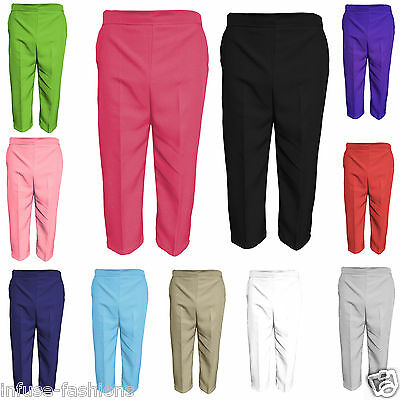 famous brand reasonably priced buying cheap LADIES WOMENS 3/4 Three Quarter Length Trousers Elasticated Waist ...