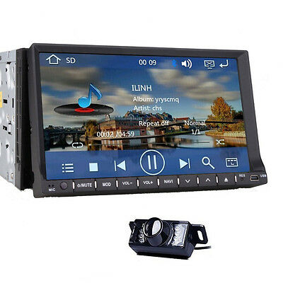 In Dash 2 Din 7'' Car DVD Radio Stereo Player with GPS Navigation BT+Free Camera