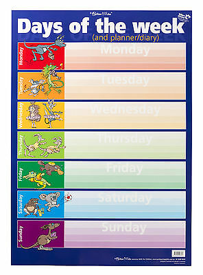 Days of the Week Weekdays Planner Diary Australian Educational Wall Chart Poster