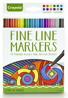Crayola Adult 12 Fine Line Vibrant Colored Markers Fine Tips 58-7713