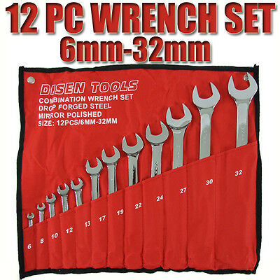 12 Pcs 6-32 mm Wrench Spanner Tool Set Combination Ring Spanners Chrome Tools