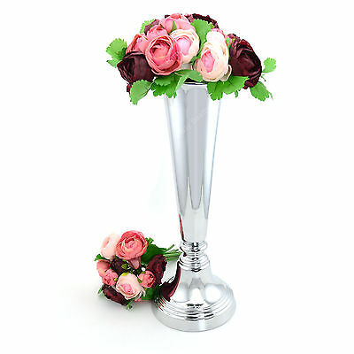 New Iron Flower Vase Chrome Silver Stand Kitchen Wedding Home Party Decoration