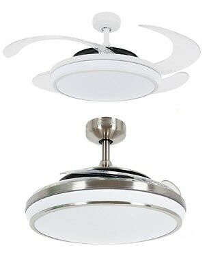 Fanaway EVO 1 LED Remote Folding Blade Ceiling Light Fan White Chrome Dimmable