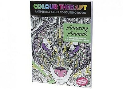 Adult Colouring Therapy Anti-Stress 64 Page A4 Amazing Animals Book