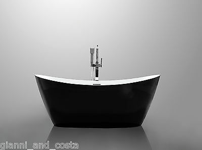 Bathroom Acrylic Free Standing Bath Tub Black 1700 x 800 x 680 - FREESTANDING