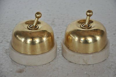 2 Pc Vintage Big Size Brass & Ceramic Victorian Electric Switches , England