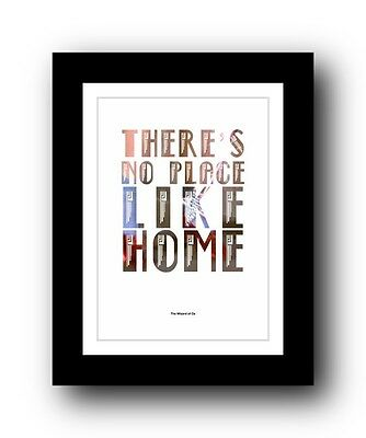 "The Wizard of Oz ❤ ""no place like home"" Typography movie quote poster print #102"
