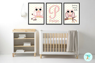 Girls Personalised Nursery Decor Wall Art Prints Chevron Pink Owl Set of 3