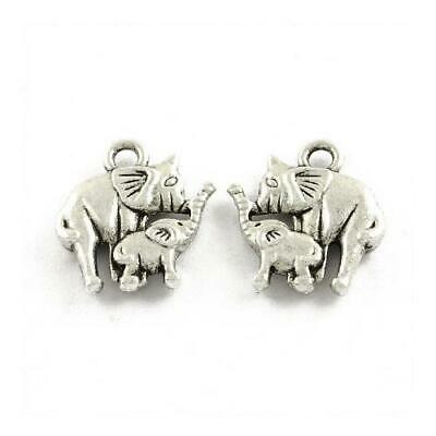 Packet of 20 x Antique Silver Tibetan 15mm Charms Pendants (Elephant) ZX16050