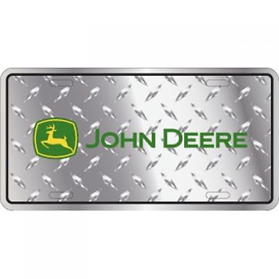 Metal John Deere Green Logo Embossed Diamond License Plate