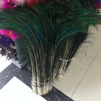 Wholesale!10-500pcs natural peacock feathers 12-32 inch/30-80cm Symmetrical
