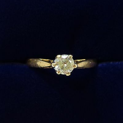 0.33ct Champagne Diamond Solitaire Ring In 18ct Yellow Gold - Size K