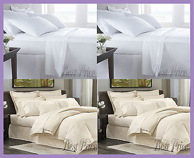 New 100% Egyptian Cotton 400TC/800TC Bed Sheets All Sizes In White/Cream