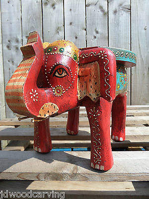 FairTrade Hand Made Carved Wooden Indian Small Elephant Chair Plant Holder Stool