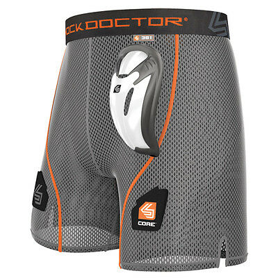 Shock Doctor Core Loose Hockey Short With Bioflex Cup, Boys Small, Grey, Wicking