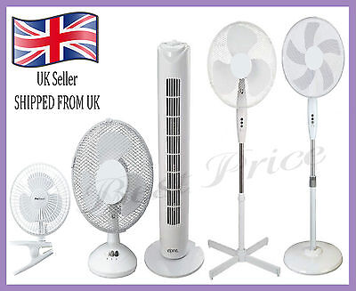 """New 4"""" 6"""" 9"""" 12"""" 16"""" Desk/Stand Portable Fans, Electric Powered Home/Office Use"""